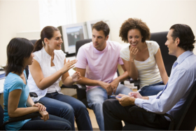 Group of teens talking to their physicians